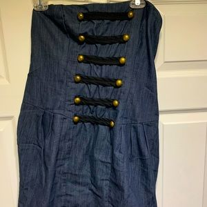 Forever 21 faux jean strapless dress